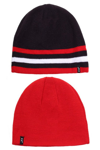 Solid Striped Trim REVERSIBLE  Beanie