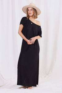 Black Micro Rib Off Shoulder Maxi Dress