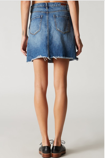 BLANKInc Denim A Line Mini Skirt