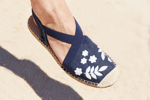Seafarer Slingback: Womens Dark Denim with White Embroidery