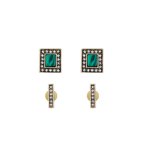 Chloe and Isabel Malachite + Pavé Stud Duo Earrings
