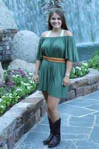 Loryn Off The Shoulder Dress - Sage