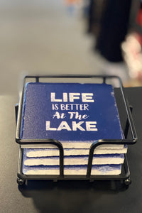 Life Is Better At The Lake Stone Coaster Gift Set