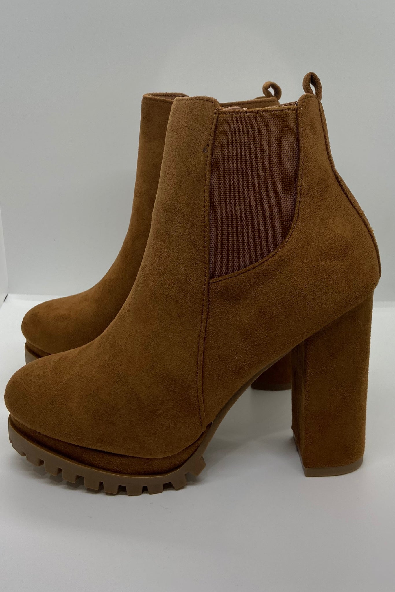 Suede Platform Heeled Booties