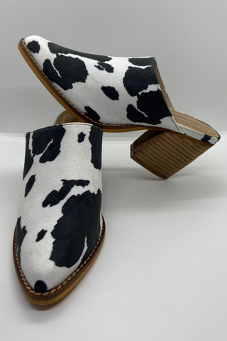 Cow Print Mules