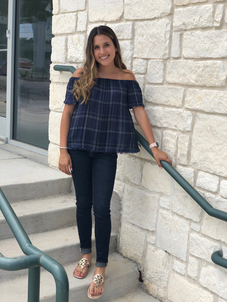 Off The Shoulder Plaid Raw Edge Top