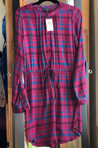 Lucky Brand Bungalow Plaid Dress - Rosewood