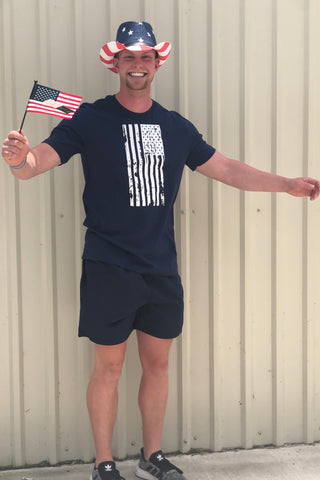 Distressed Flag Crew Neck Navy