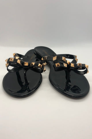 Studded Bow Thong Flat Sandals