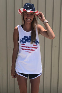 Comfort Colors Patriotic Lips Tank