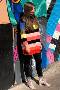 RAINBOW COLOR BLOCK LOOSE FIT SWEATER