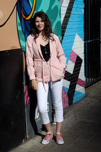 Ruched-Sleeve Anorak Jacket