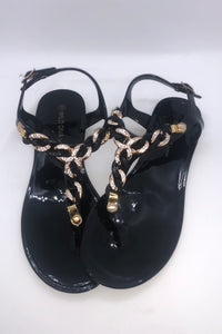 Ankle Strap Jeweled Jelly Sandals