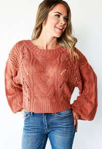 CABLE KNIT BALLOON SLEEVE SWEATER