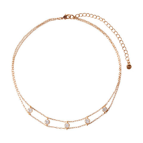 Chloe + Isabel Petits Bijoux Station Choker Necklace (Rose Gold)