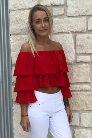 COPACABANA CROP TOP ~ TOMATO RED CHIFFON