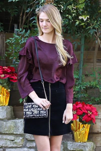 Long Sleeve Ruffle Front Satin Rumple Blouse