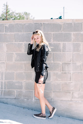 Ruffle Vegan Leather Jacket