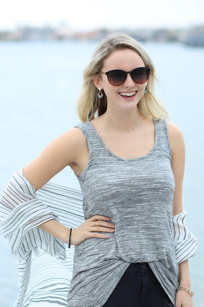Spaced Dyed Banded Tank Top - Charcoal Heather