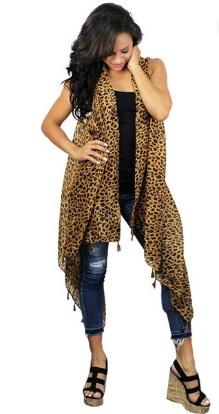 Trendy Leopard Print Fashion Vest with Tassels