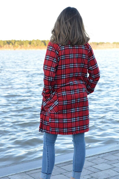 Long Plaid Jacket Red & Black