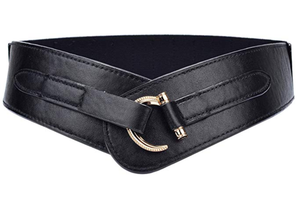 Leather Wide Elastic Stretch Cinch Belt