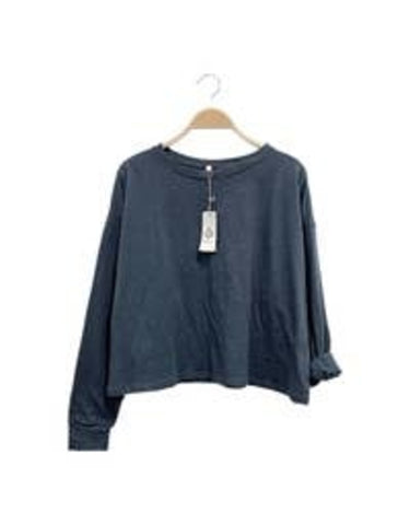 Cotton Slub Long Sleeve Oversized T-Shirt