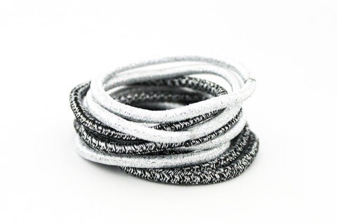 Maria Shireen® BITTERSWEET COLLECTION - Glitter Black & Silver HAIR TIE PACK (Qty. 10 per pack)