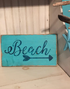 Handpainted Wooden Beach Sign with Arrow - Aqua/Navy - Nautical