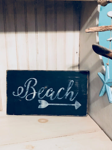 Handpainted Wooden Beach Sign with Arrow - Navy/White - Nautical