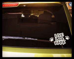Live Love Bark with paws - white - Car Decal - outdoor