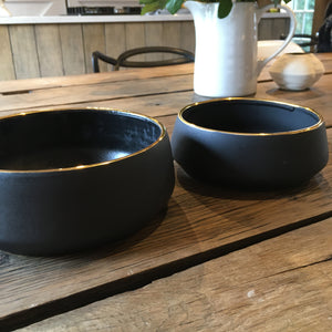 Luxury black gold rimmed stoneware bowl for dogs.  Heavy dog bowl for any beautiful home