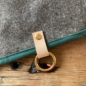 Luxury dog mat leather buckle detail