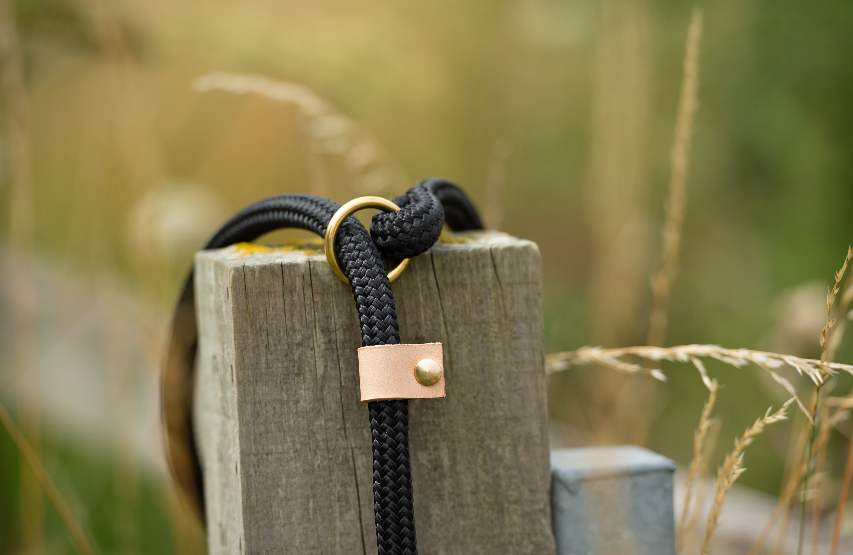 Luxury Rope slip lead in rural setting of the beautiful oxfordshire countryside