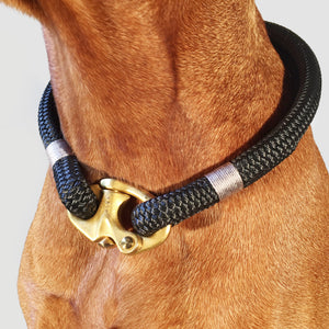 Classic Rope Dog Collar - Silver Birch