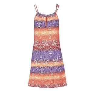 Boho neck dress with print, sleeveless - dealod