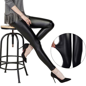 Faux Leather Thin Black Leggings - dealod