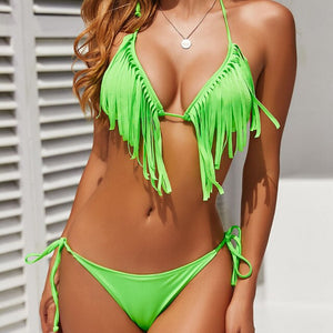 Swimsuit with fringed bra + panties - dealod