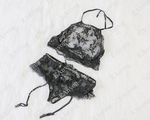 Transparent lace bra with free back without wire+panties - dealod