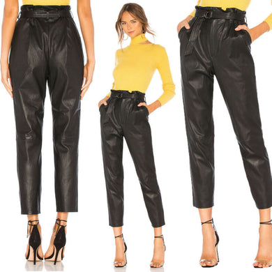 Leather Stretch Trousers - dealod
