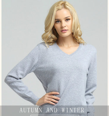 Women Sweater Knitted Female Long Sleeve V-neck Cashmere Sweater And Pullover Female Autumn Winter Slim Jumpers Casual - dealod