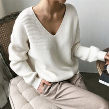 Womens Sweaters 2020 Autumn Winter Casual V Neck Women Pullover Sweater Solid Long Sleeve Fashion Loose Knitted Cashmere Top - dealod