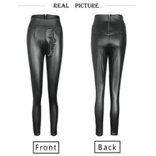 Leather Skinny Stretch Slim High Waist Black Trousers - dealod