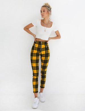 Plaid Check Skinny Pants - dealod