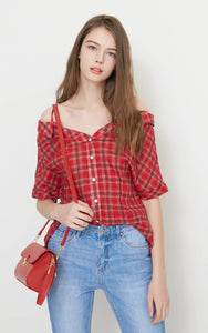 Off-Shoulder Plaid Half Sleeves Shirt Blouse - dealod