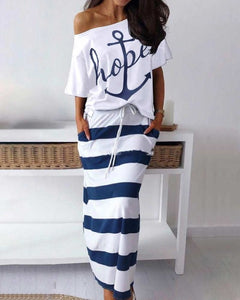 2 piece Set, Anchor Off Shoulder - dealod