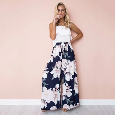 Long Pants Wide Leg Floral Printed Bowknot - dealod
