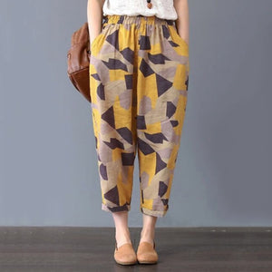 Trouser Loose Printing Pockets Cotton Linen - dealod