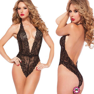 One-piece Lace Lingerie Set Bra And Panty Transparent - dealod