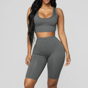 Two Piece Set Outfits Crop Tops and Biker Shorts - dealod